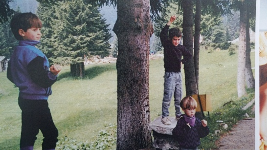 "Ady, Markland, and Andrew playing ""gargoyles"" on out trip with Cornel and Auralia to the mountains in 1994."