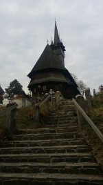 One wooden church that stood on a hill top in Maramures.