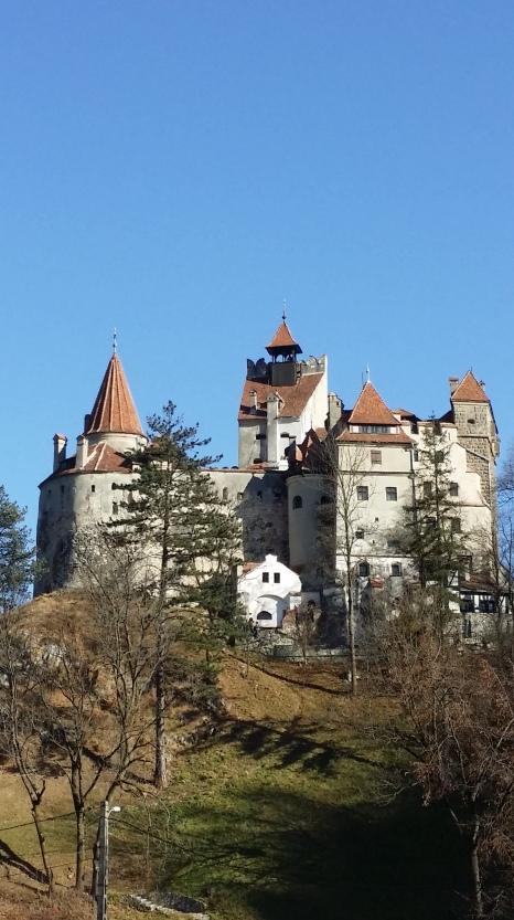"Bran's Castle as seen passing throuh ""Carpathian Gate."""