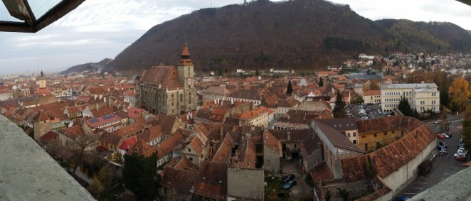 From the western guard tower, we could see the entire old town of Brasov and most of the wall that encircled it.