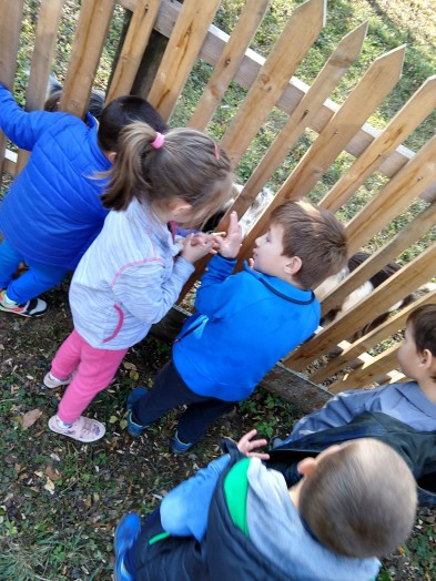 Kindergarteners in Cluj enjoy making a connection with other kids.