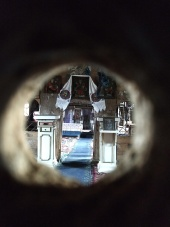 One church we could not enter. I tried putting the camera up to the key hole.