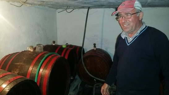 Barrels of wine are kept below ground.